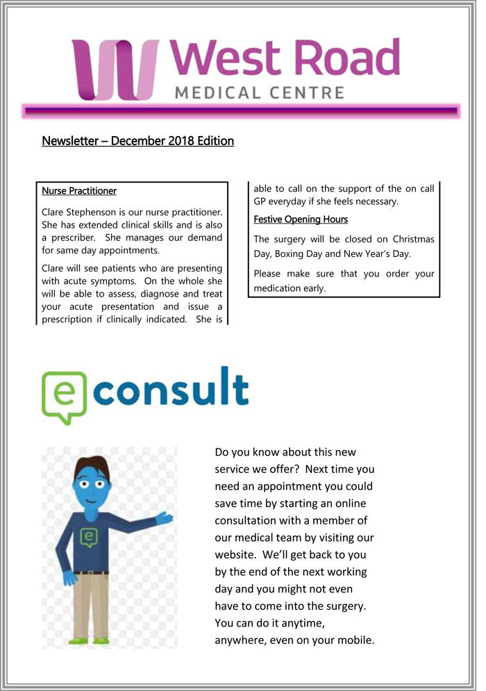 West Road Medical Centre - Practice newsletter